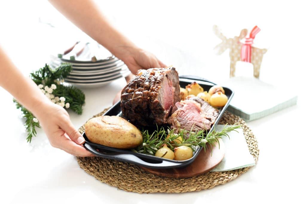 Roastbeef con cebollitas para Navidad