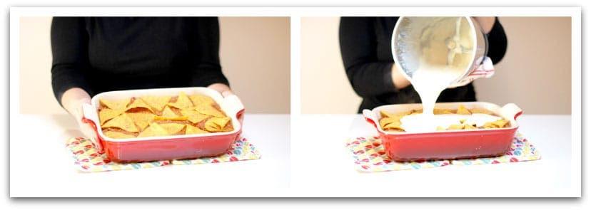 Pon la carne en la fuente luego los nachos y luego la bechamel