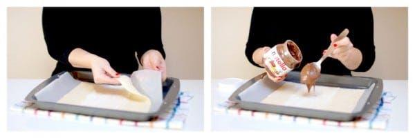 Prepara tu masa de hojaldre y unta con nutella