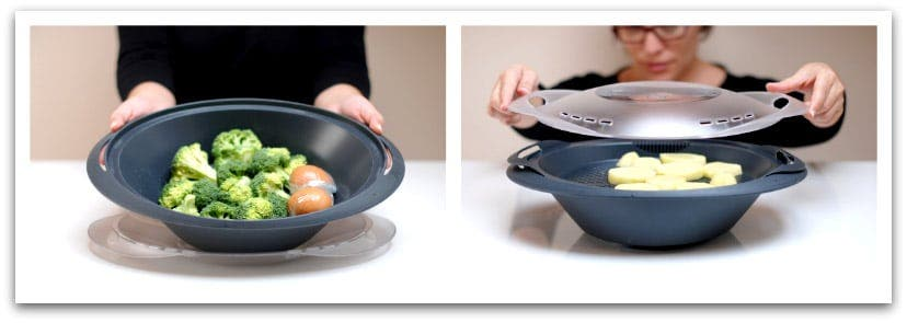 Coloca las verduras, los huevos y las patatas en el Varoma
