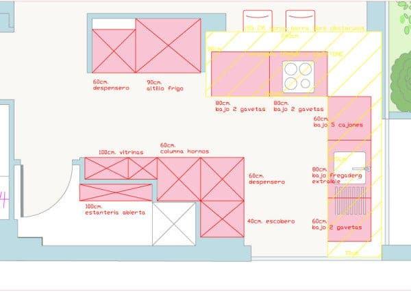 Plano detalle de la cocina