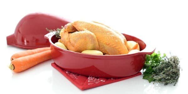 Pollo de corral asado, delicioso.