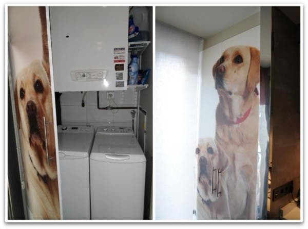 Lavadora y secadora tras una puerta con la foto de los perros