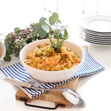 Arroz con menestra de verduras