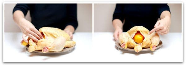 Sazona el pollo por dentro y ponle los ajos y el limón