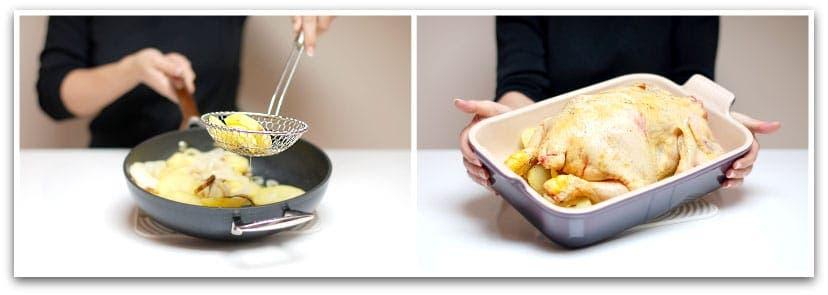 Usa las patatas de base, pon el pollo encima y hornéalo