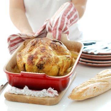 Pollo asado al horno con patatas panadera