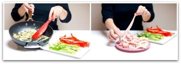 Fajitas de pollo, primero preparar los ingredientes