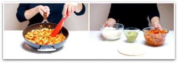 Fajitas de pollo, segundo, sofreir las verduras