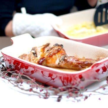 Paletillas de cordero asadas con patatas a la crema