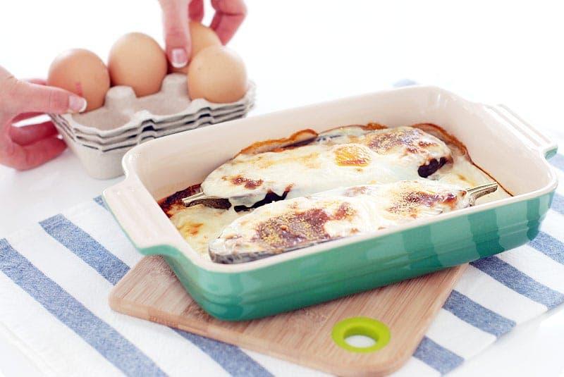 Berenjenas rellenas de pisto y huevo