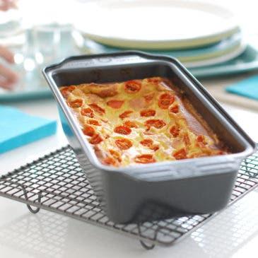 Pastel de puerros con tomates cherry