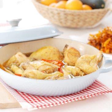 Pollo al jerez con pimentón, receta en cocotte