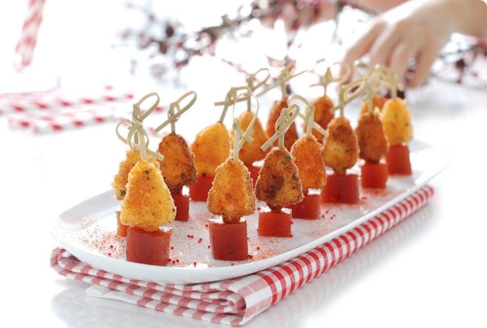 arbol de queso frito y membrillo arbolitos de queso frito y membrillo canaps para nochebuena