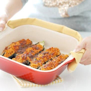 Berenjenas rellenas de pollo al curry