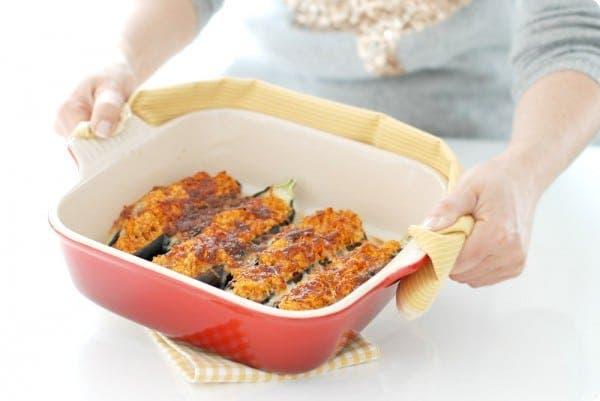 Berenjenas rellenas de pollo y curry