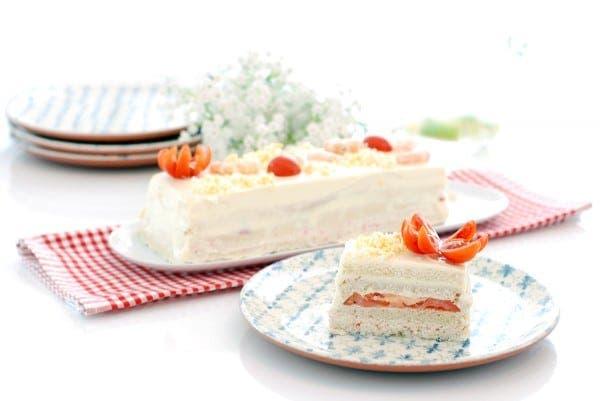 Pastel de verano de pan Bimbo® con langostinos