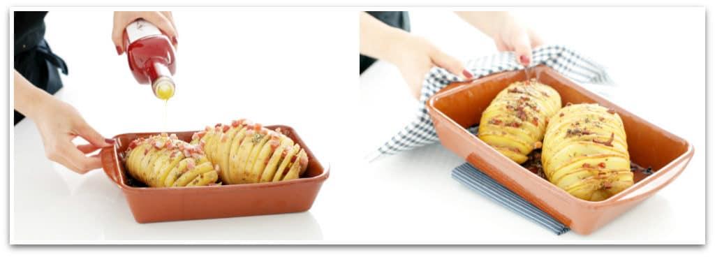 Patatas Hasselback antes y después de hornear