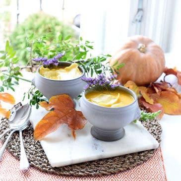 Crema de calabaza con raviolis