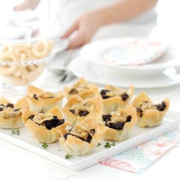 Tartaletas crujientes de morcilla y manzana