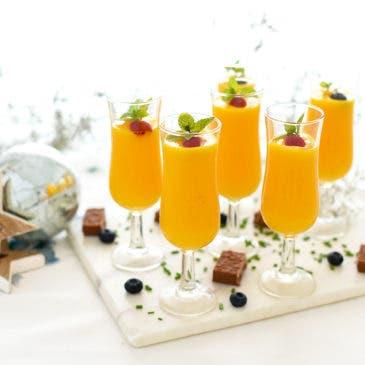 Sorbete de naranja y mango con ginebra