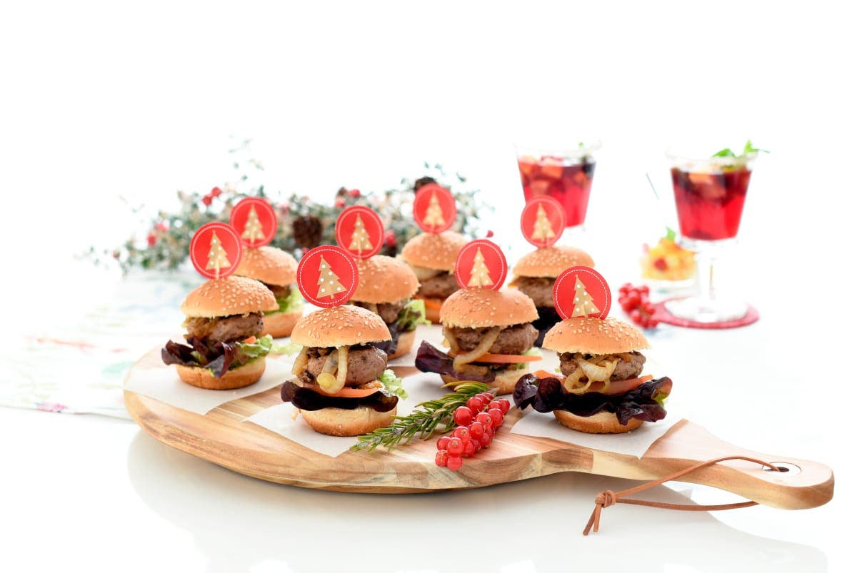 Mini hamburguesas con polvo de boletus