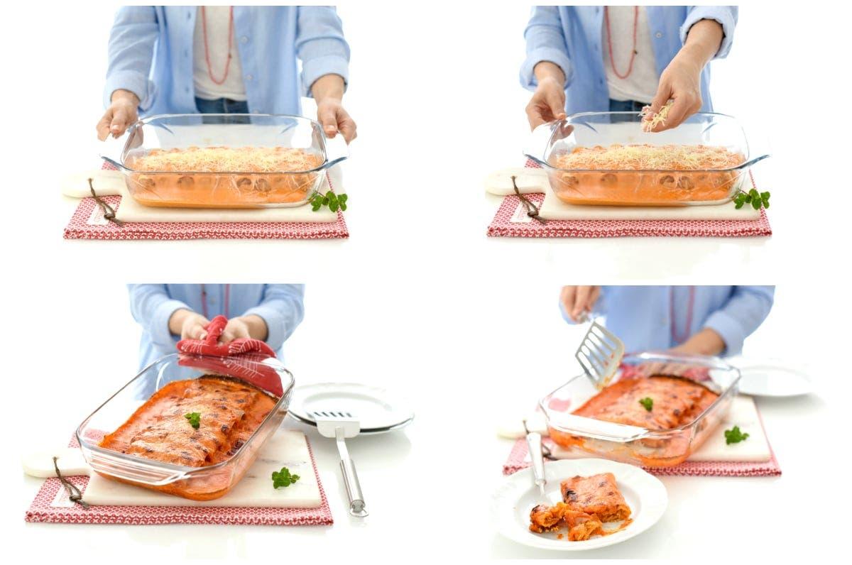 Canelones de pollo con salsa de piquillo en Thermomix®