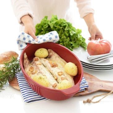 Lubina a la espalda con patatas