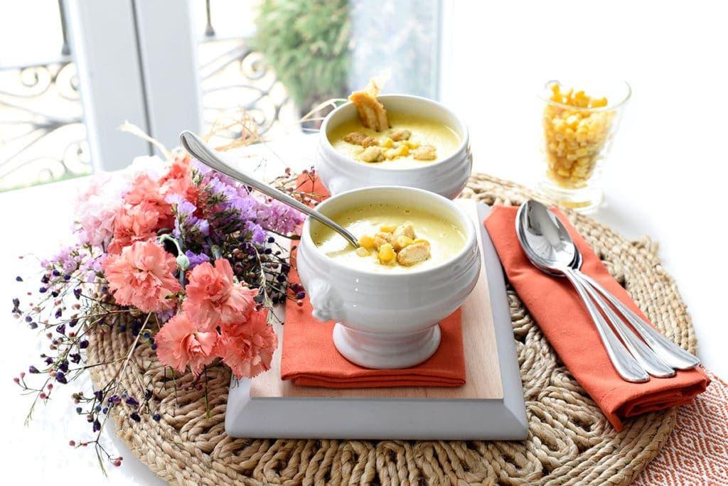 Crema de maíz con curry