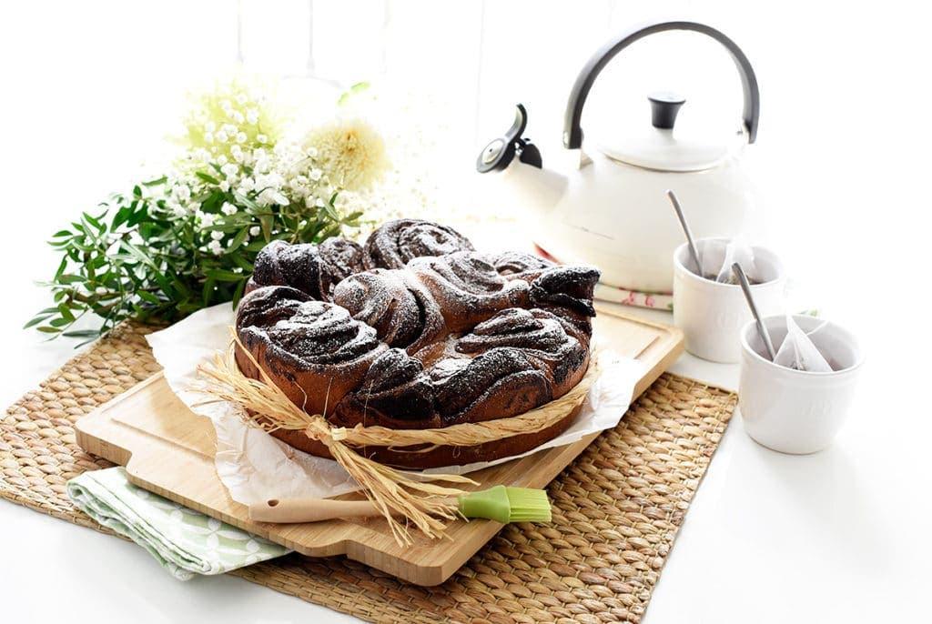 Caracolas de brioche con chocolate