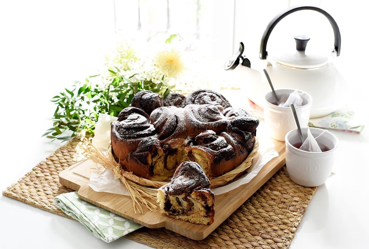 Caracolas de brioche con chocolate pedacito
